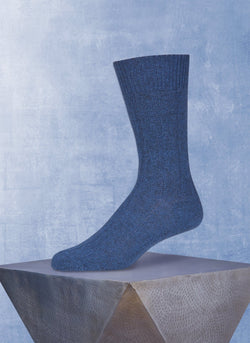 75% Cashmere Rib Sock in Classic Teal