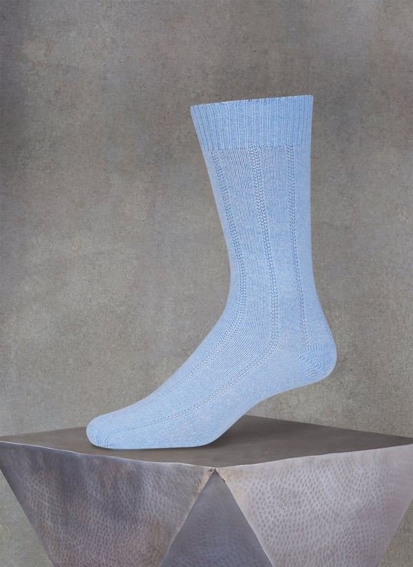 75% Cashmere Rib Sock in Sky Blue