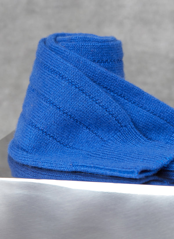 75% Cashmere Rib Sock in Royal Blue