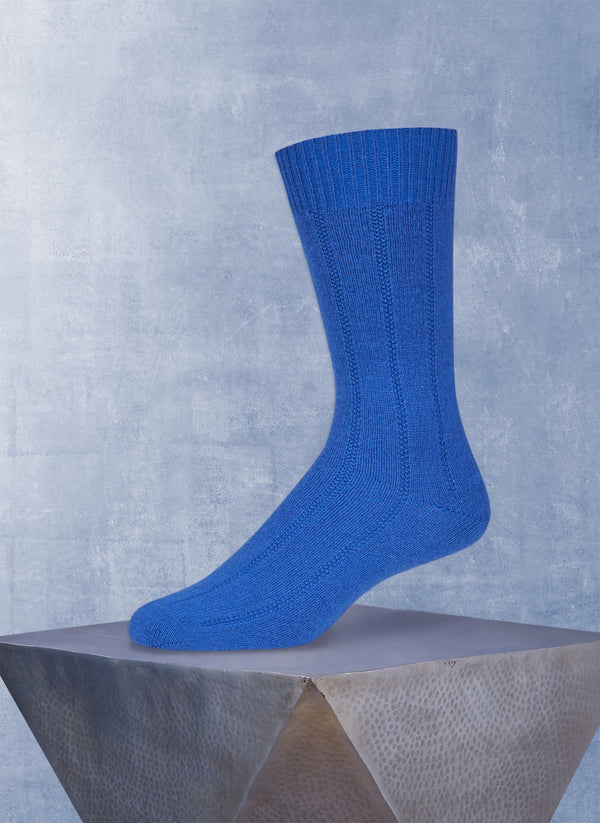 Cashmere Rib Sock  in Royal Blue