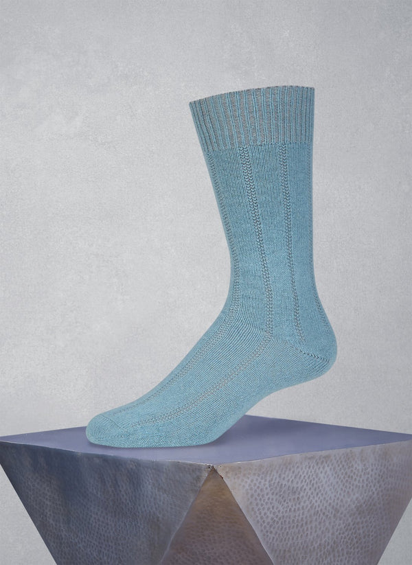 75% Cashmere Rib Sock in Robin's Egg Blue