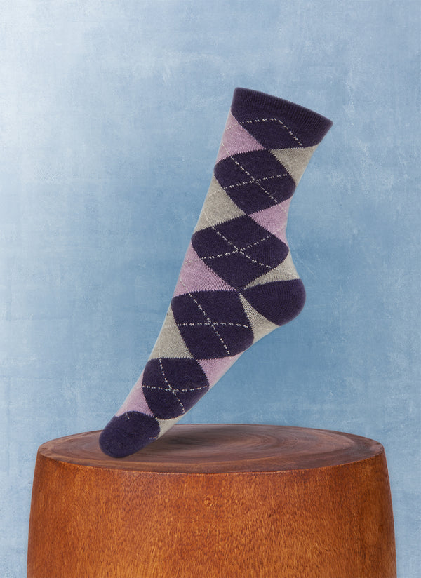 Women's Argyle Cashmere Sock in Purple and Grey