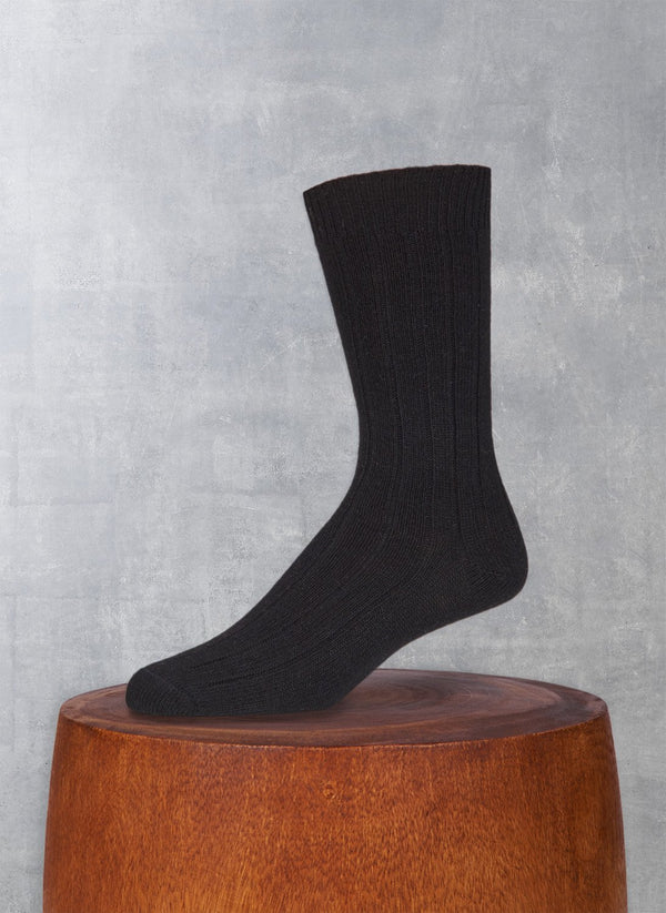 Cashmere Blend Rib Sock in Black