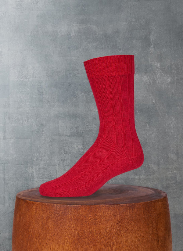 Cashmere Blend Rib Sock  in Red