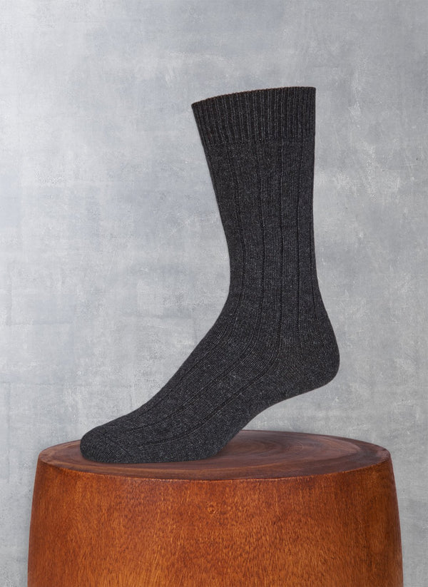 Cashmere Blend Rib Sock  in Charcoal