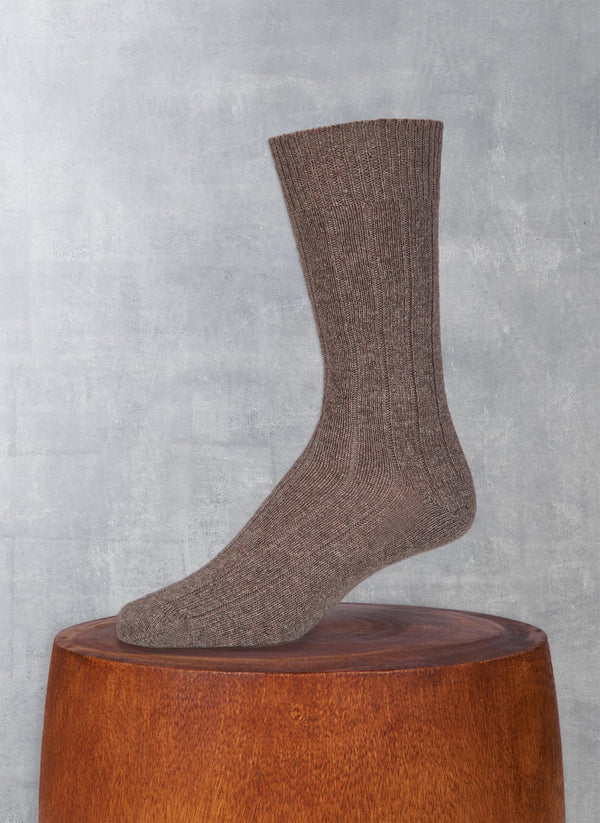 Cashmere Blend Rib Sock  in Taupe