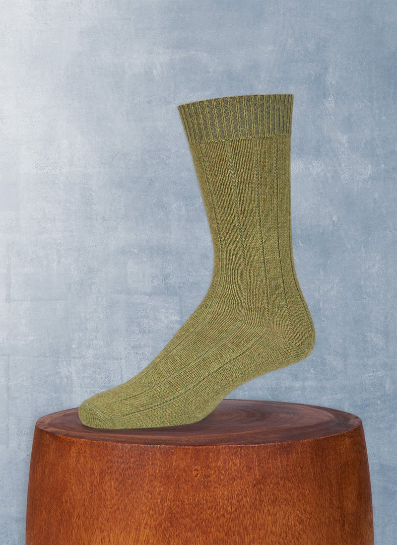 Cashmere Blend Rib Sock  in Green