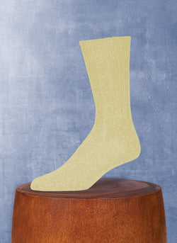 Cashmere Blend Rib Sock  in Yellow