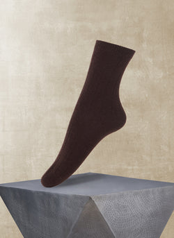 Women's Ribbed Cashmere Sock in Brown