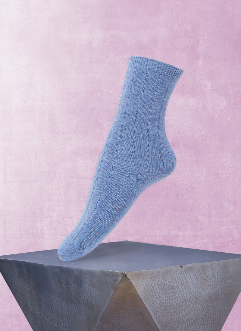 Women's Ribbed Cashmere Sock in Denim