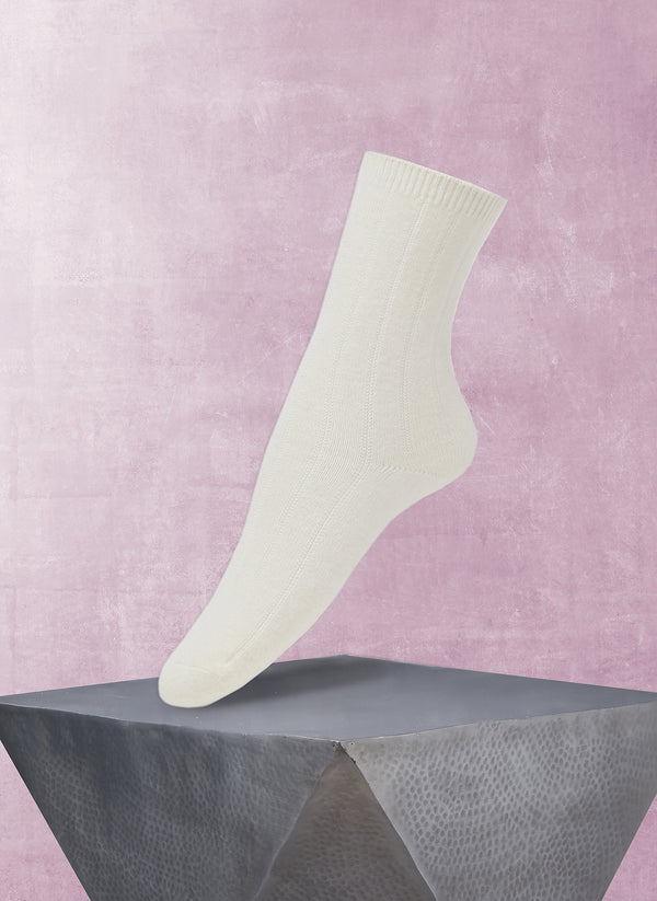 Women's Ribbed Cashmere Sock in Ivory