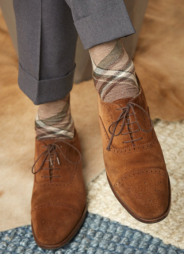 Plaid Sock in Taupe