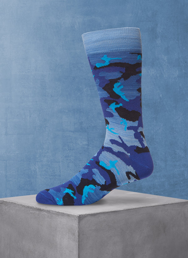 Space Dyed Camo Sock in Blue