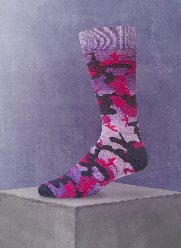 Space Dyed Camo Sock in Purple