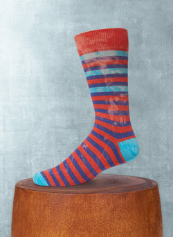 Stonewashed Stripe Sock in Red