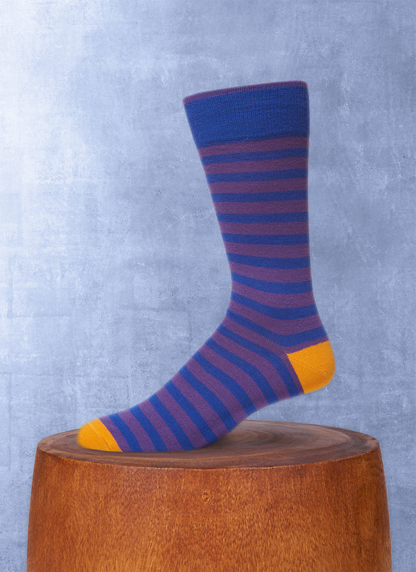 Rugby Stripe Sock in Navy and Purple