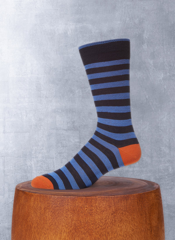Rugby Stripe Sock in Blue and Navy