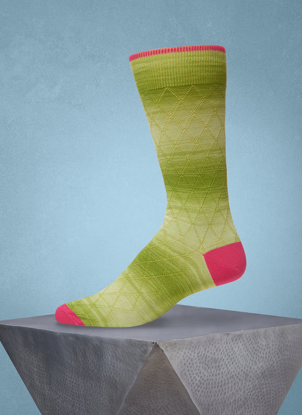 Space Dyed Diamond Sock in Lime