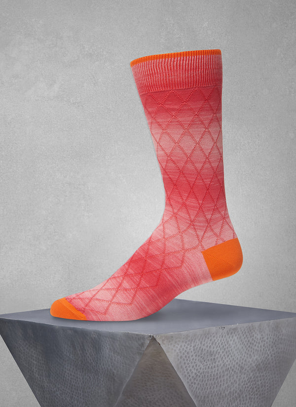 Space Dyed Diamond Sock in Orange