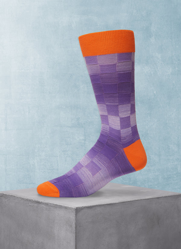 Space Dyed Basketweave Sock in Orange and Purple
