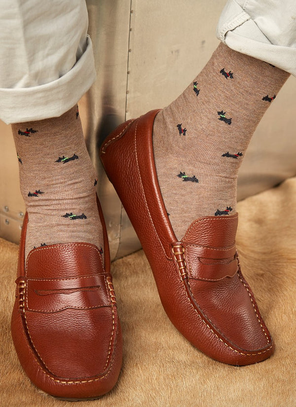 Scotty Dogs Sock in Taupe
