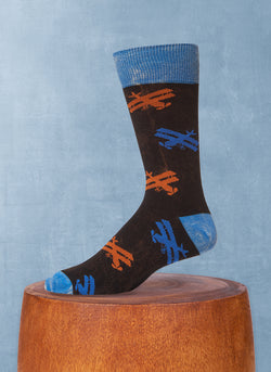 Stonewashed Airplanes Sock in Black