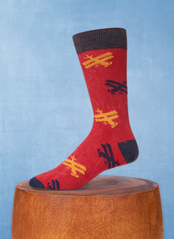 Stonewashed Airplanes Sock in Red