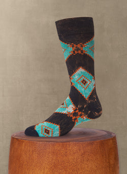 Stonewashed Aztec Diamond Sock in Navy