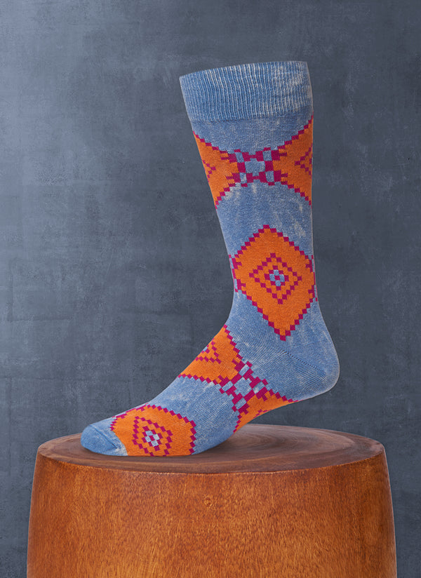 Stonewashed Aztec Diamond Sock in Charcoal