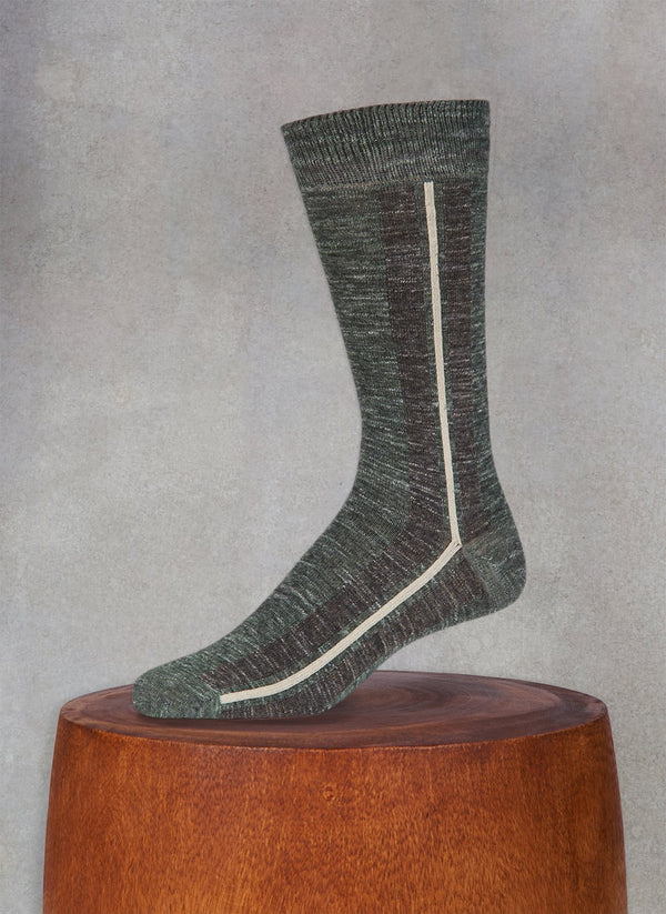Pigmento Vertical Stripe Sock in Olive