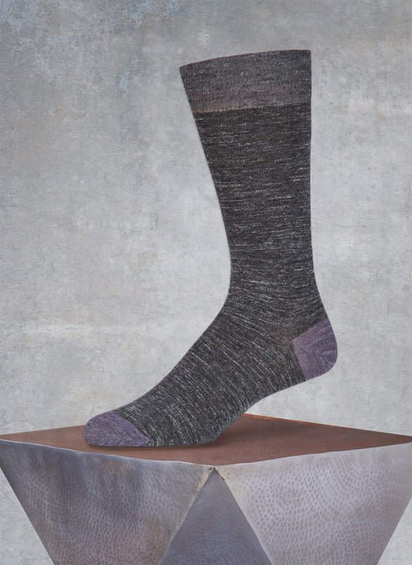 Pigmento Solid Heel/Toe Sock in Pewter Grey Melange