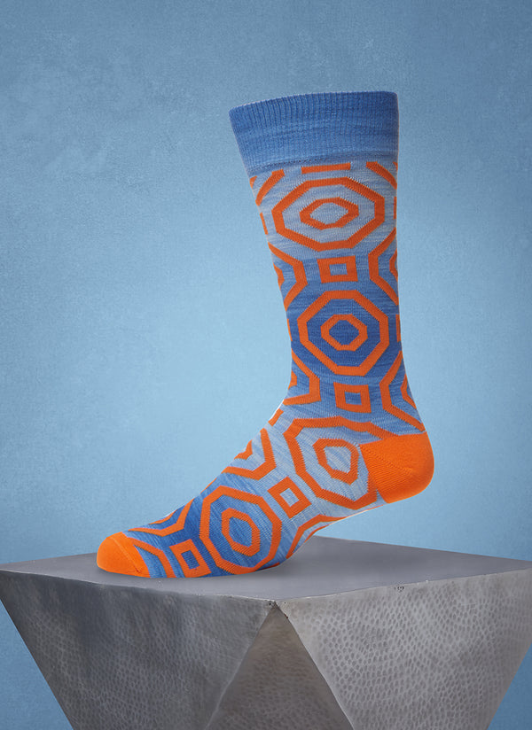 Space Dyed Octagon Sock in Orange