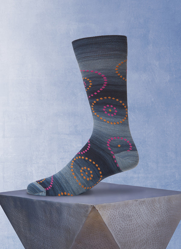 Space Dyed Circle Dot Sock in Grey