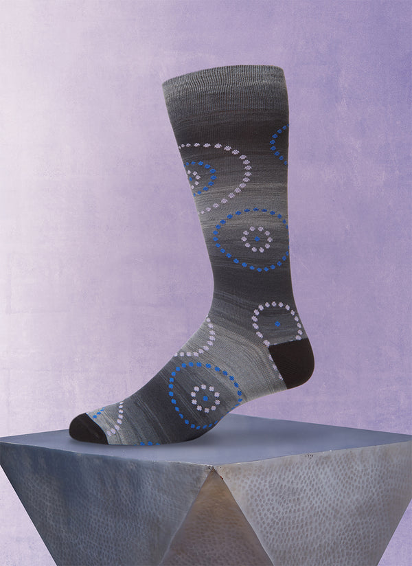 Space Dyed Circle Dot Sock in Black