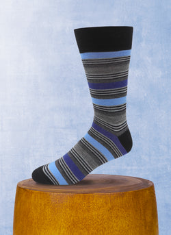 Triple Stripe Sock in Black