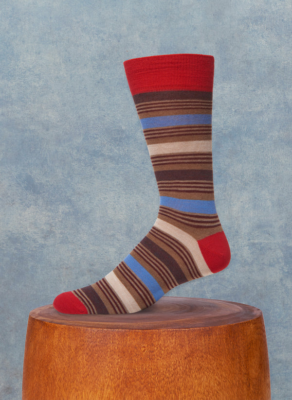Triple Stripe Sock in Red