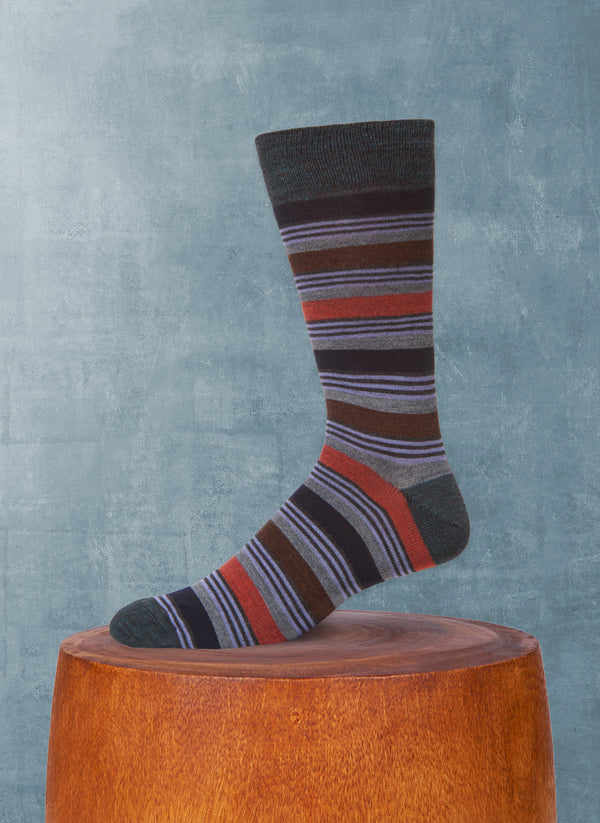 Triple Stripe Sock in Teal