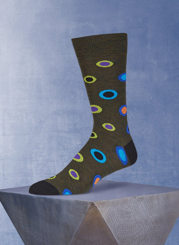 Merino Wool Circle Dot Sock in Olive