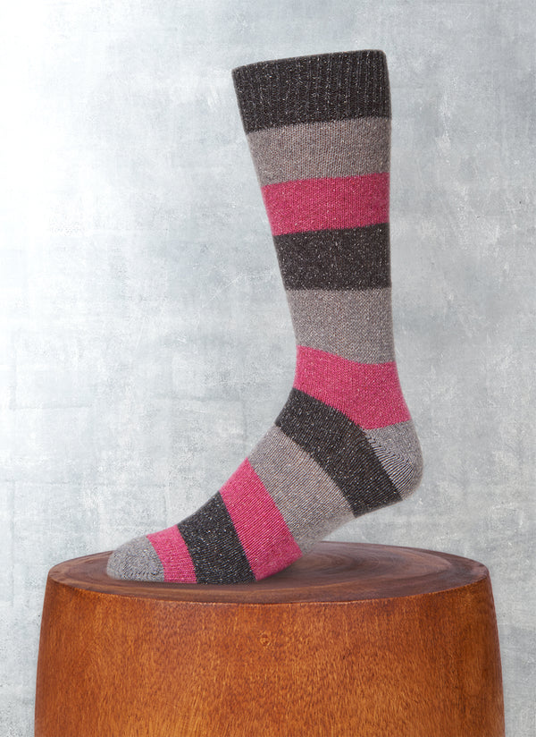 Color Block Stripe Sock in Charcoal