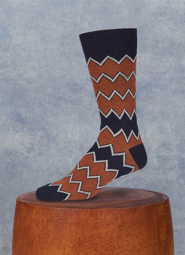 Aztec Zig Zag Sock in Navy