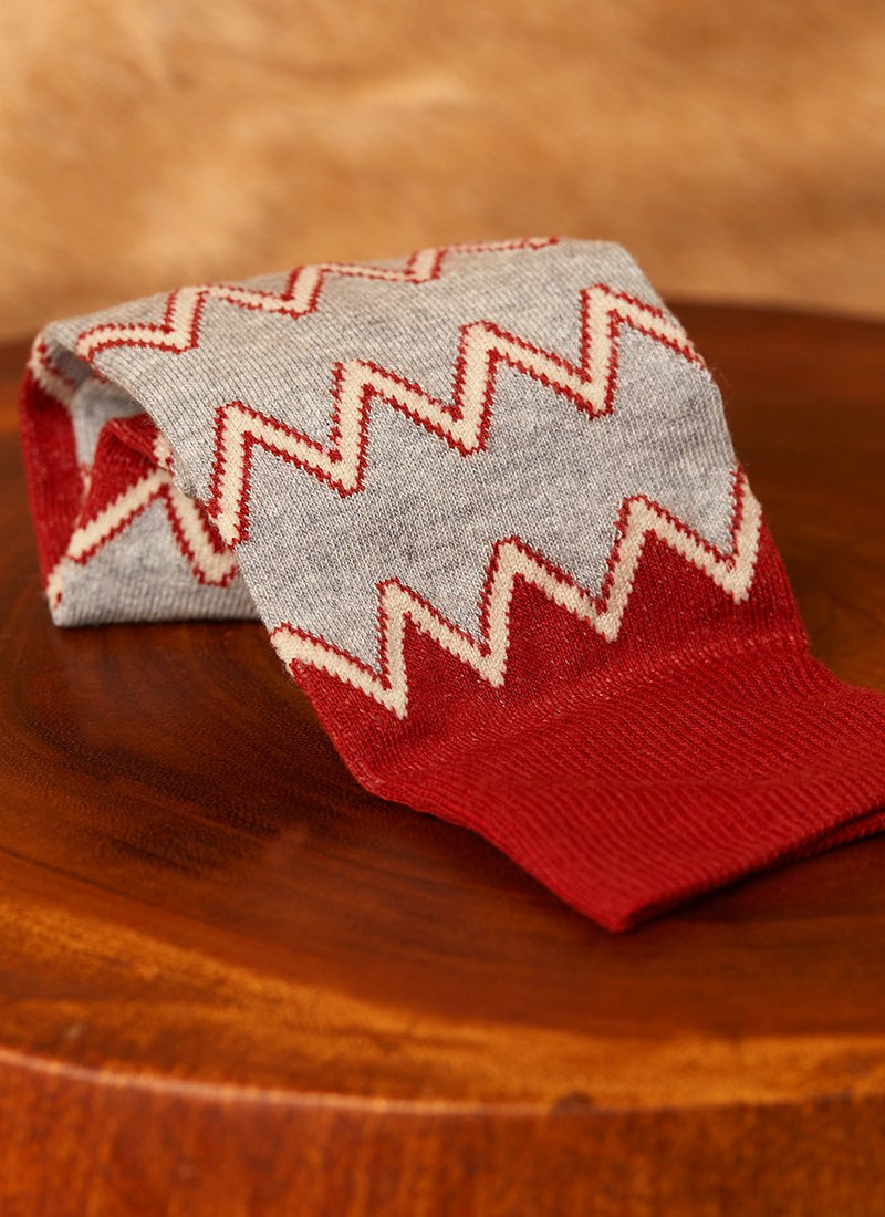 Aztec Zig Zag Sock in Brown