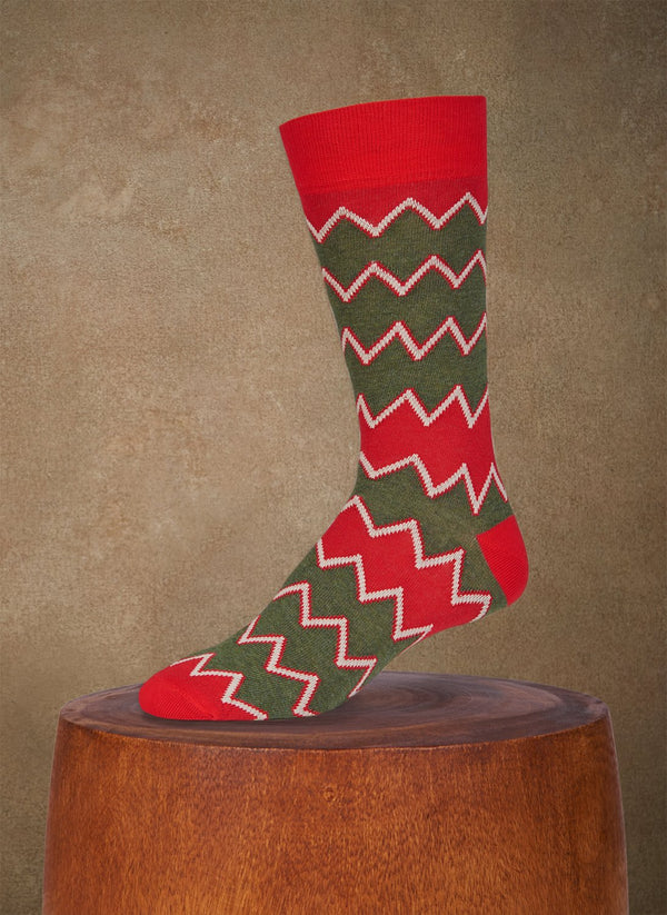 Aztec Zig Zag Sock in Red