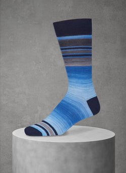 Space Dye Band Stripe Sock in Navy