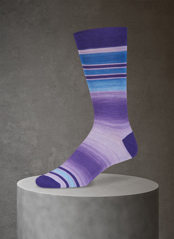 Space Dye Band Stripe Sock in Purple