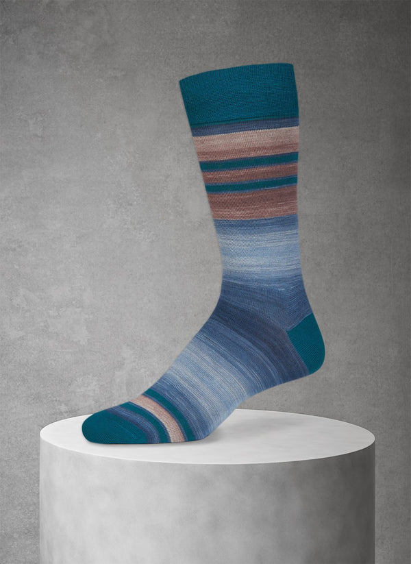 Space Dye Band Stripe Sock in Green