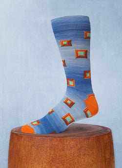 Space Dyed Stacked Square Sock in Blue and Orange