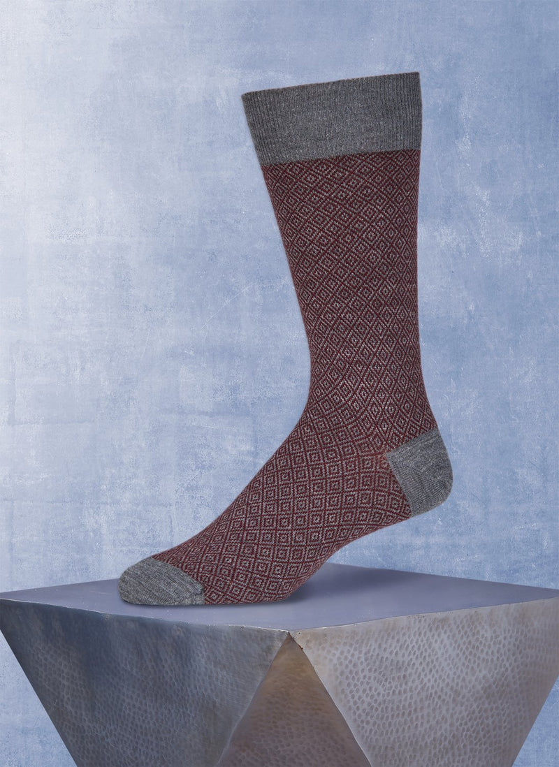 Merino Geometric Diamond Sock in Grey