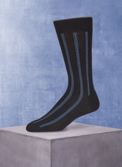 Merino Vertical Stripe Sock in Black