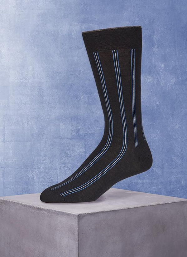 Merino Vertical Stripe Sock in Navy