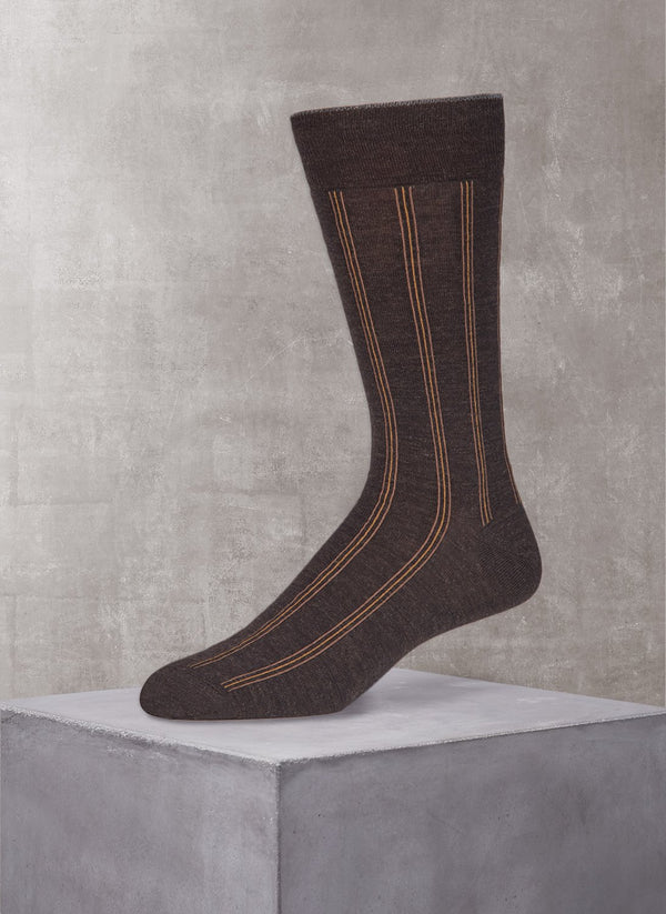 Merino Vertical Stripe Sock in Brown
